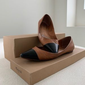 Madwell Cap Toe Pointy Flats- Pecan Brown Leather